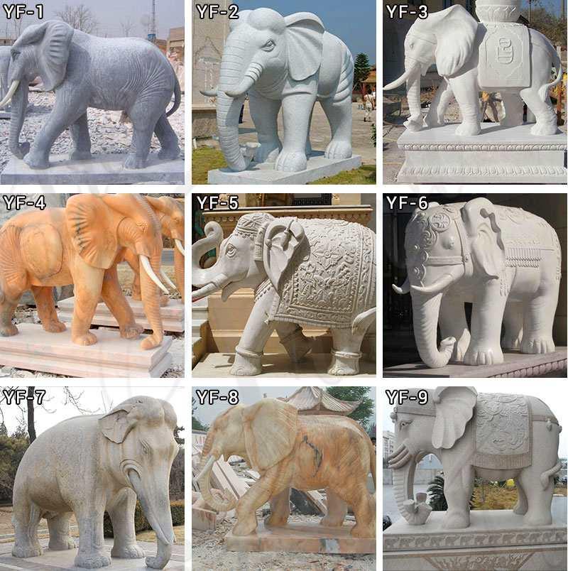 Decoration Life Size Marble Animal Elephant Statue Supplier MOKK-324