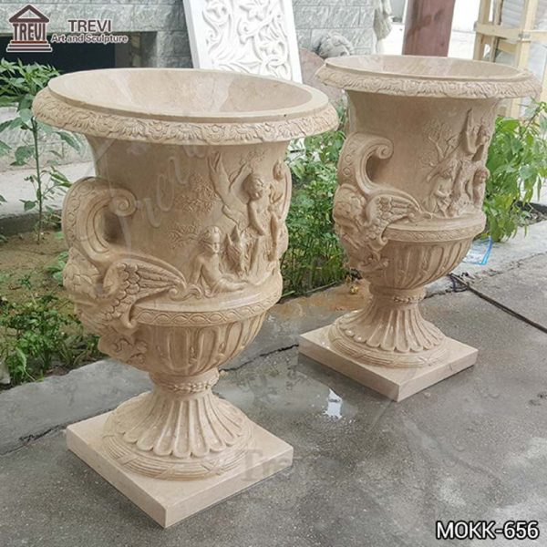 Hand Carved Exquisite Beige Marble Flower Pot Manufacturers MOKK-656