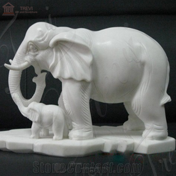 Garden Decoration Life Size Marble Animal Elephant Statue Supplier MOKK-324