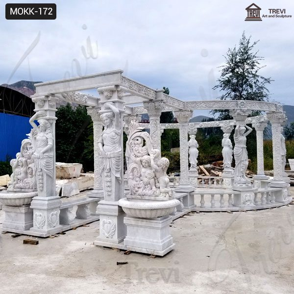 High Quality Hand Carved Pure White Marble Gazebo Manufacturer MOKK-172