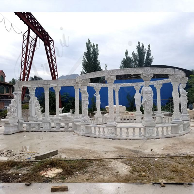 High Quality Hand Carved Pure White Marble Gazebo Manufacturer