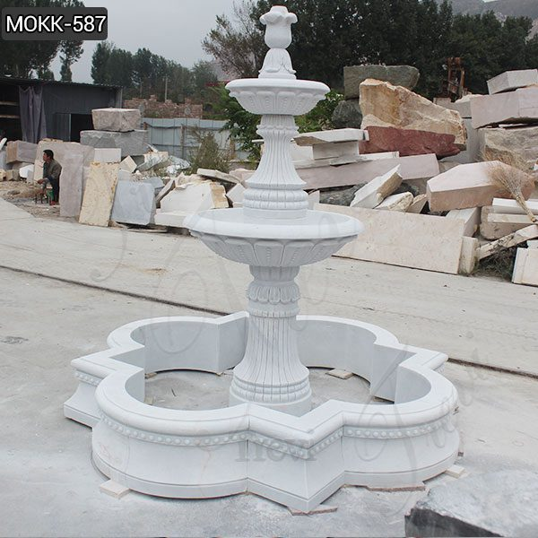 Life Size White Marble Two Tier Garden Fountain for Sale MOKK-587