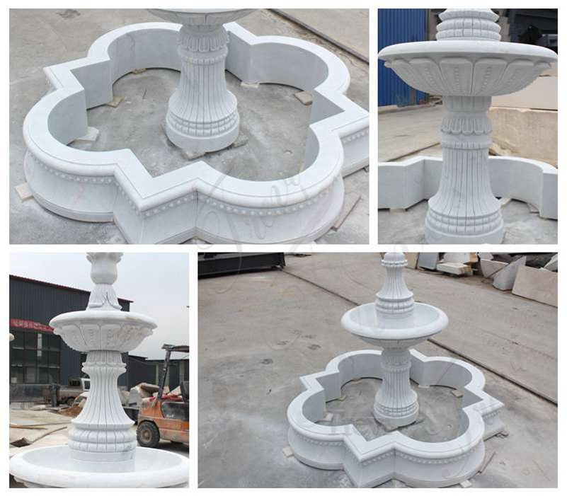 Life Size White Marble Two Tier Garden Fountain