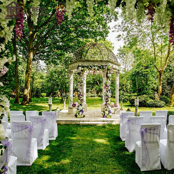 Outdoor Wedding Decoration Hand Carved White Marble Gazebo Supplier MOKK-452