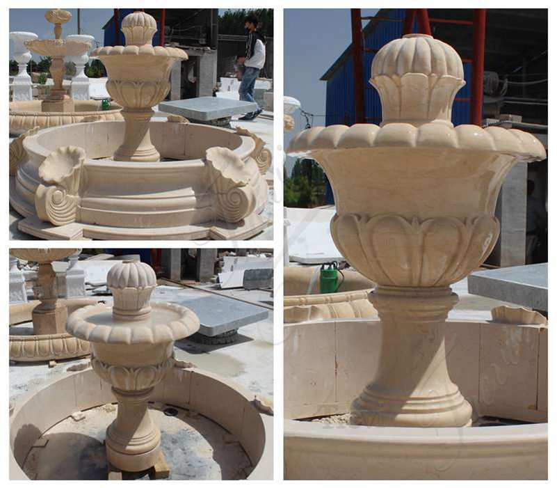Small Size Beige Marble Stone Fountains Detail