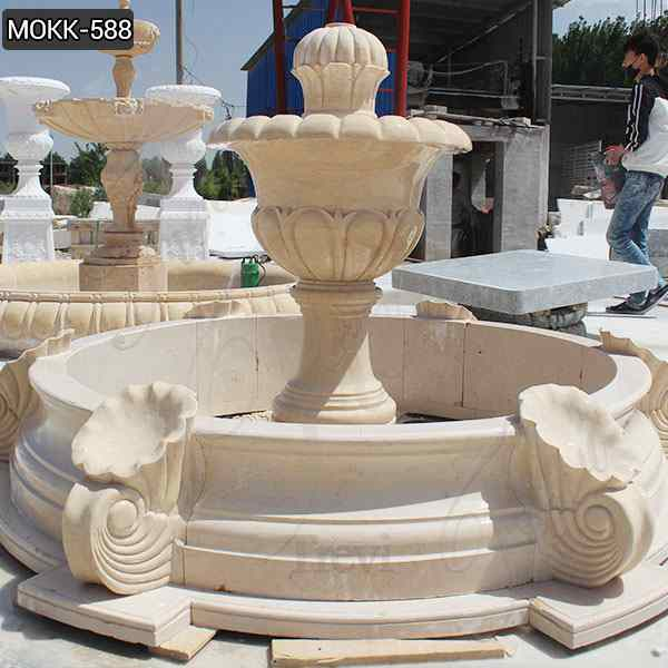 Small Size Beige Marble Stone Fountains Wholesale MOKK-588