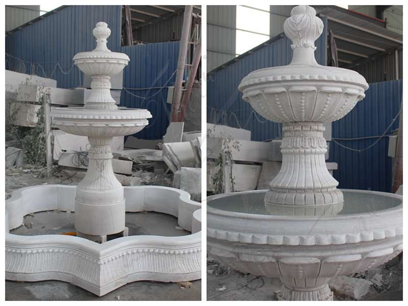 White Marble Two Tier Garden Fountain for Sale