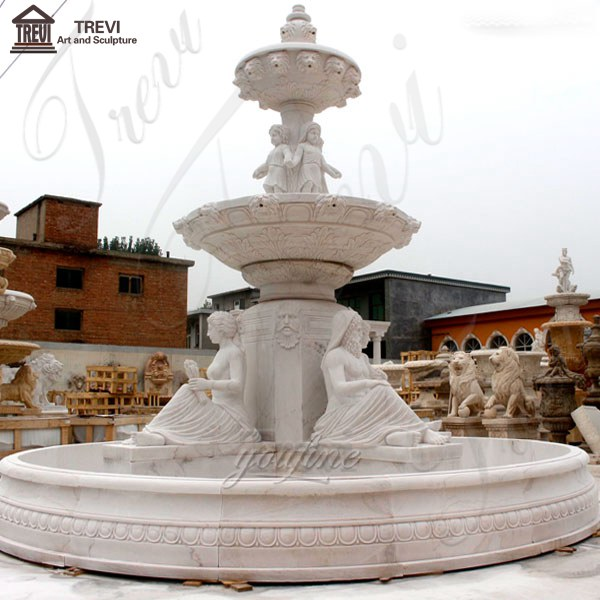 Hand-carved-3-tiered-yellow-marble-fountain-with-figure-statues-design-for-sale-for-front-yard-decor-MOKK-86