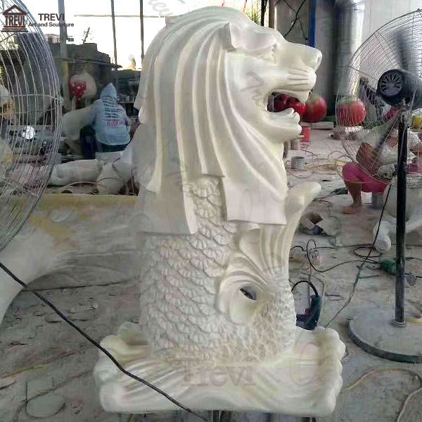 Outdoor Decoration Life Size Singapore Lion Fish Fountain Marble Lion Statue MOKK-188