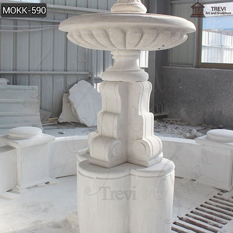 Outdoor Life Size Tiered Marble Water Fountain Statue Simple Design MOKK-590