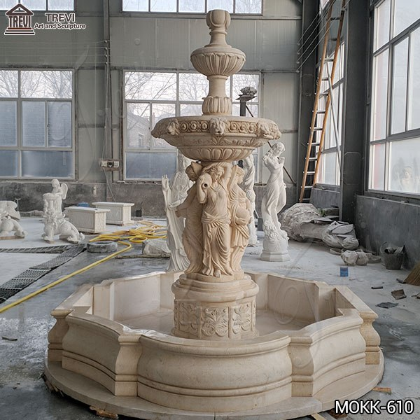 Outdoor Tiered Egyptian Beige Statuary Marble Water Fountain Statue
