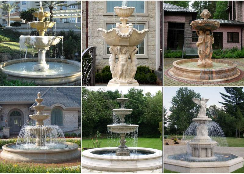 Outdoor Tiered Egyptian Beige Statuary Marble Water Fountain