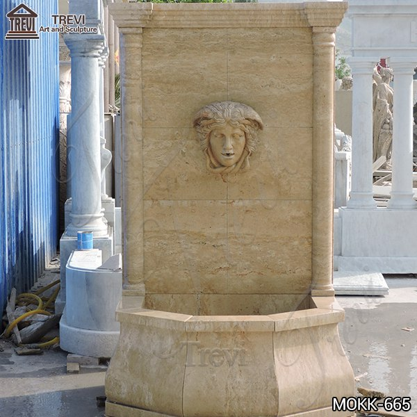 Home Yellow Travertine Medusa Head Wall-Mounted Fountain for Sale MOKK-665