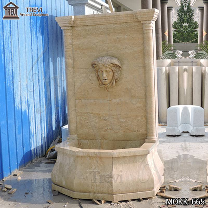 Home Yellow Travertine Medusa Head Wall-Mounted Fountain for Sale
