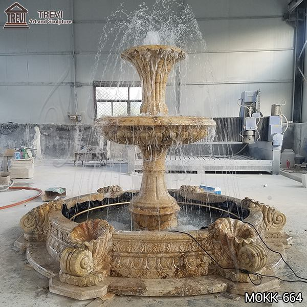 Large Outdoor Natural Yellow Travertine Stone Water Fountain for Sale MOKK-664