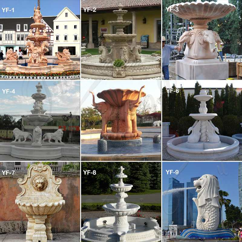 Large Outdoor Natural Yellow Travertine Stone Water Fountain