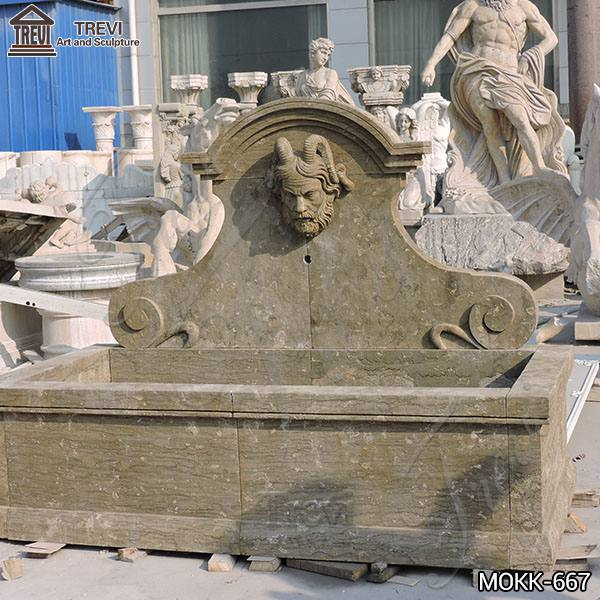 Natural Limestone Wall Fountain with Satyr Head Statue for Sale MOKK-667