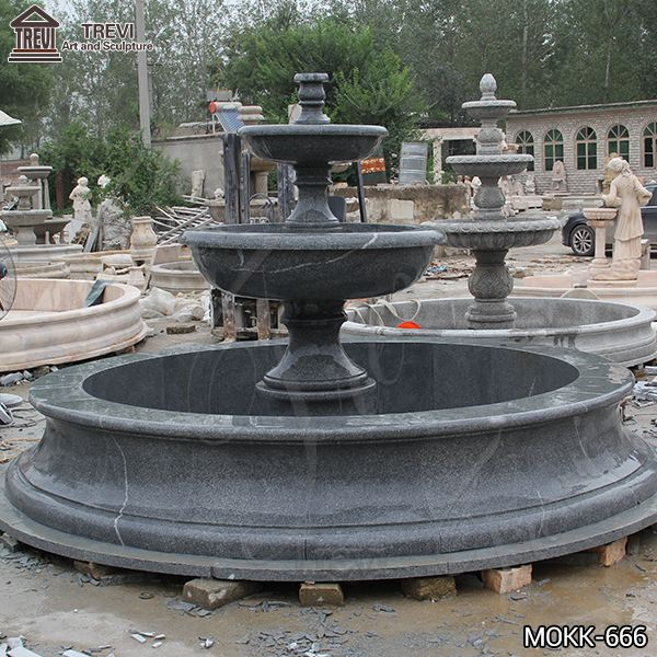 Outdoor Black Granite Tiered Water Fountain Manufacturers for Sale MOKK-666