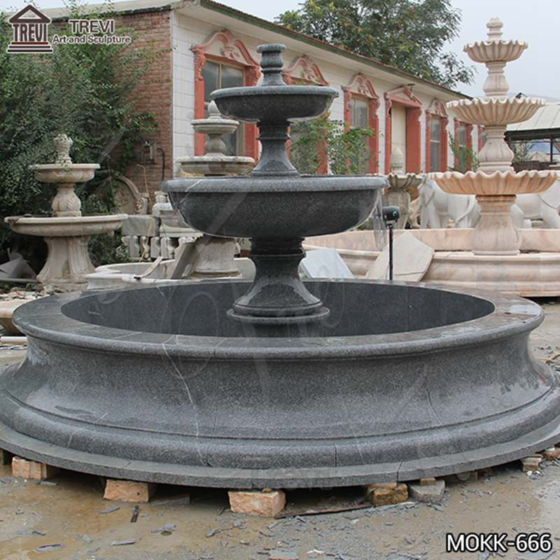 Outdoor Black Granite Tiered Water Fountain Manufacturers for Sale