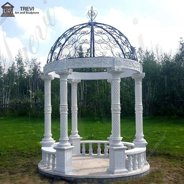 Garden Decoration White Marble Gazebo China Supplier MOKK-35