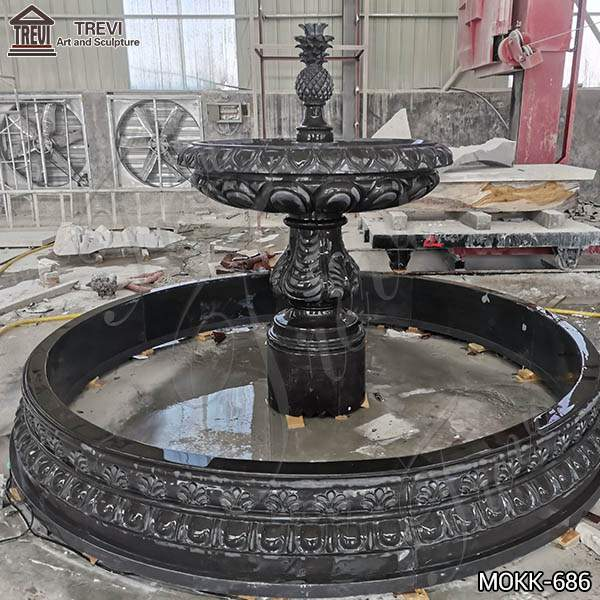 Outdoor Black Granite Tiered Water Fountain Manufacturers for Sale MOKK-686