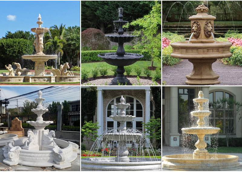 Outdoor Black Granite Tiered Water Fountain Manufacturers