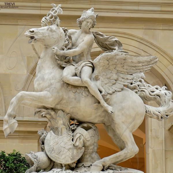 Famous Garden Marble Mercury riding Pegasus Statue with Big Wings supplier MOKK-223
