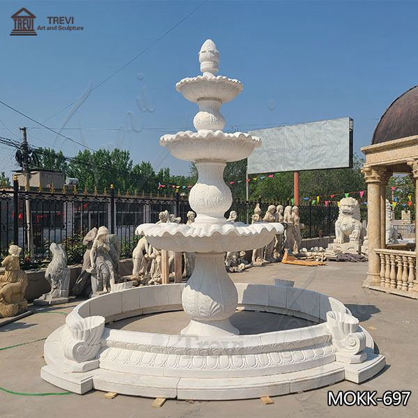 Three Tiered Marble Water Lotus Fountain for Backyard Decor