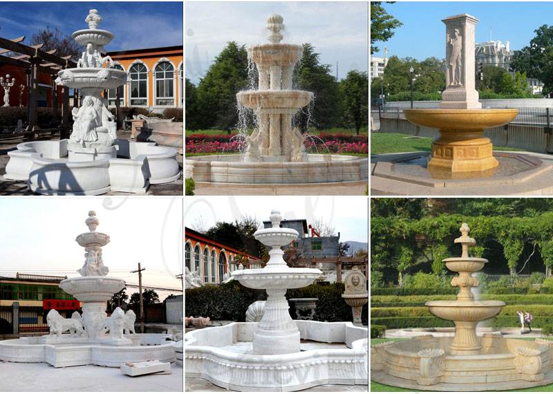 Three Tiered Marble Water Lotus Fountain for Backyard