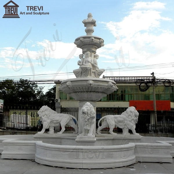 Garden Decoration Outdoor Marble Fountain With Lion Statues for Sale MOKK-03