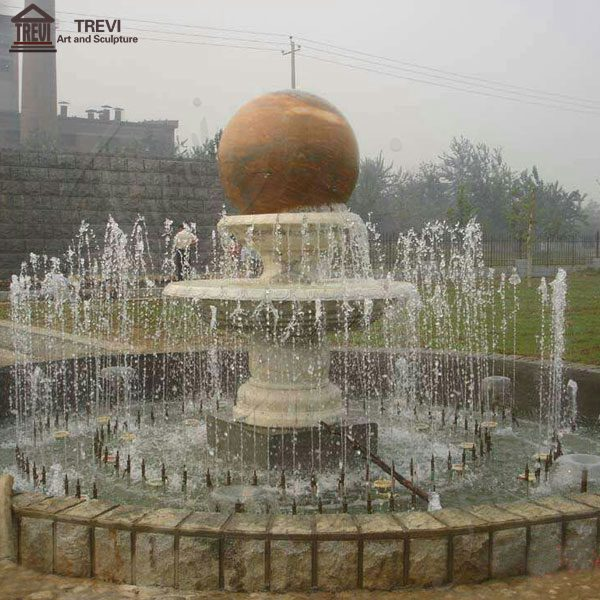 Honey Granite Spinning Ball Fountain for Outdoor Garden Decoration Sale MOKK-182