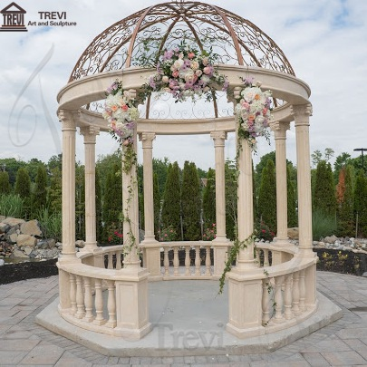 Customized White Marble Gazebo for Wedding Decoration Supplier MOKK-618