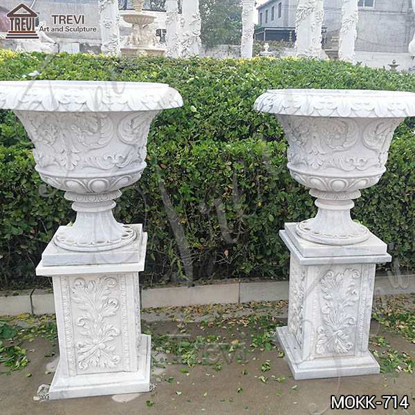 Exquisite White Marble Flower Pots floral designs for Sale MOKK-714