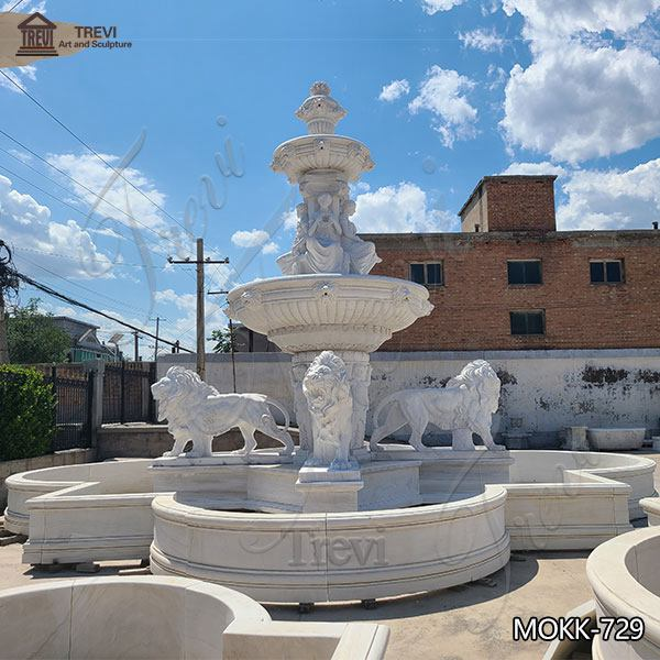 Outdoor Decoration Tiered Marble Water Lion Fountain for Sale MOKK-729