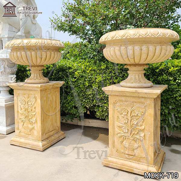 Wholesale Beige Marble Flower Pots Antique Style Garden Decor MOKK-719