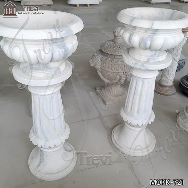 Small Size White Marble Flower Pots Decoration for Sale MOKK-721