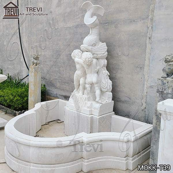 Garden Angel Wall Fountain White Marble Water Fish for Sale MOKK-739