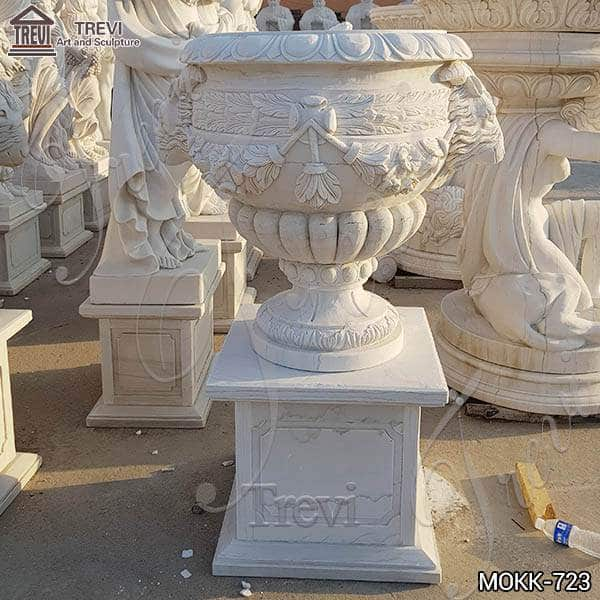 Floral Decoration Lovely White Marble Flower Pots for Sale MOKK-723