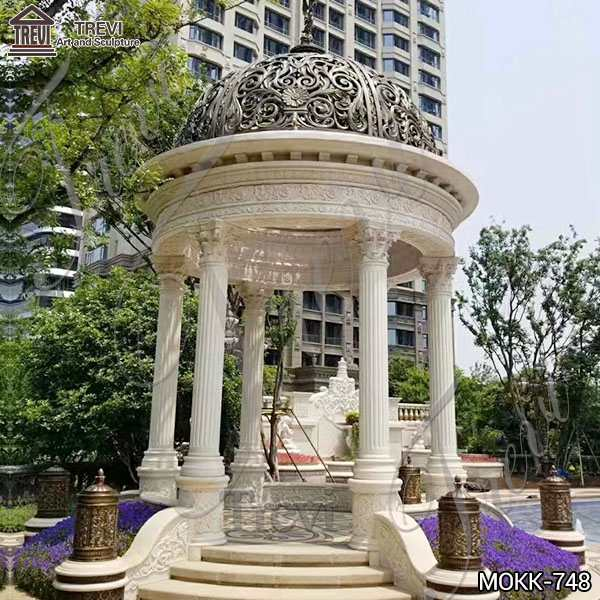 Vintage Style Marble Gazebo Outdoor Garden Decoration Supplier MOKK-748