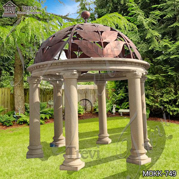 Ornate Outdoor Beige Marble Gazebo Garden Decoration Factory MOKK-749