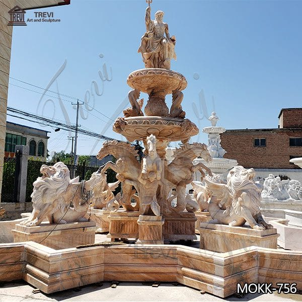 Outdoor Beige Marble Water Lion Fountain Poseidon Statue for Sale MOKK-756