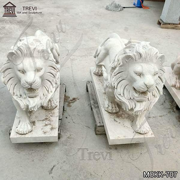 Garden Outdoor Marble Standing Lion Statue for Sale MOKK-707