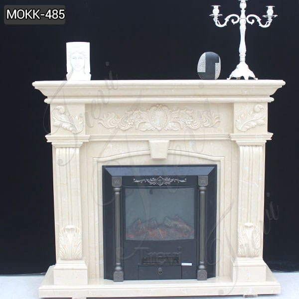 Exquisite White Marble Tile Fireplace Surround Supplier MOKK-485