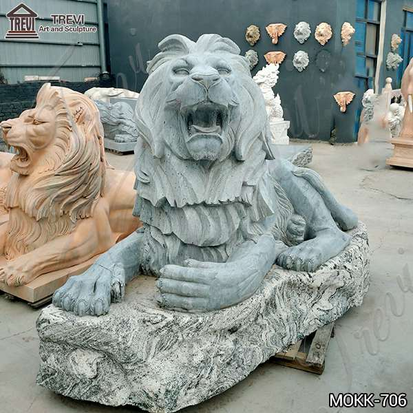 Outdoor Marble Lion Statue Zoo Decoration for Sale MOKK-706