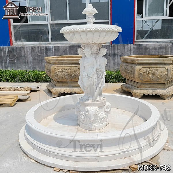 Large Outdoor Marble Woman Water Fountain Manufacturer MOKK-742