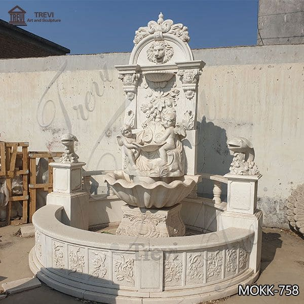 Luxury Style Outdoor Marble Water Angel Wall Fountain for Sale MOKK-758