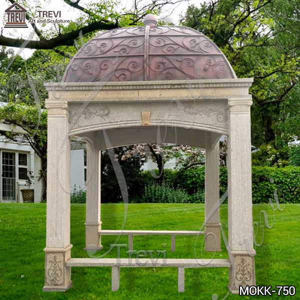 Vintage Style Sandstone Gazebo with Metal Hat for Sale MOKK-750