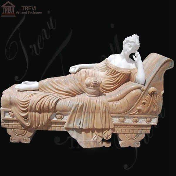 Life Size Marble Woman Lying Garden Statue Paolina Bonaparte MOKK-240