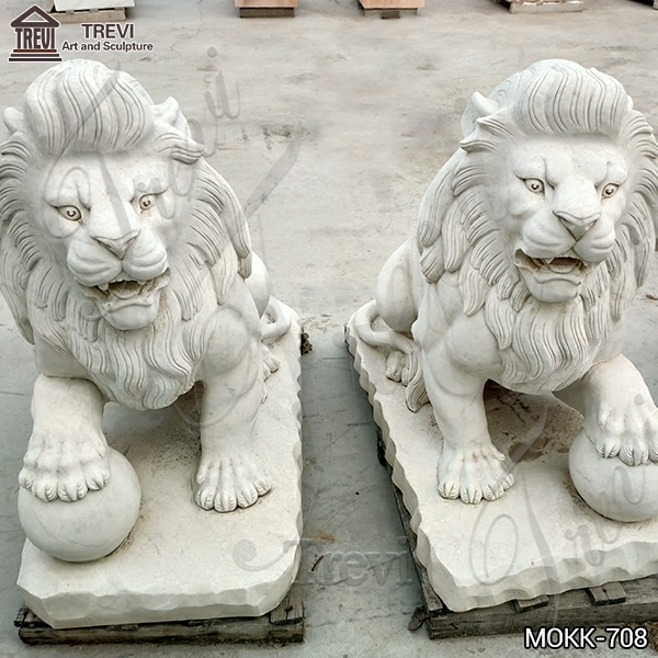 Marble Sitting Lion Statue with Paw on Ball for Sale MOKK-708