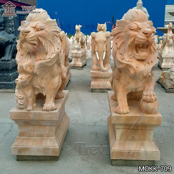 Outdoor Beige Marble Lion Statue for Sale China Factory MOKK-709